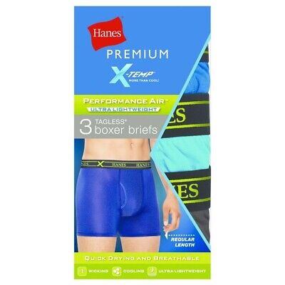 Hanes Premium Men's Xtemp Boxer Briefs Size Small Tagless Pack of 3 Cooling