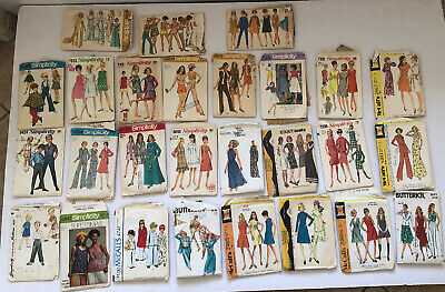 LOT OF 26 VTG 1960's/70's/80's  Sewing Patterns Simplicity McCalls - Cut