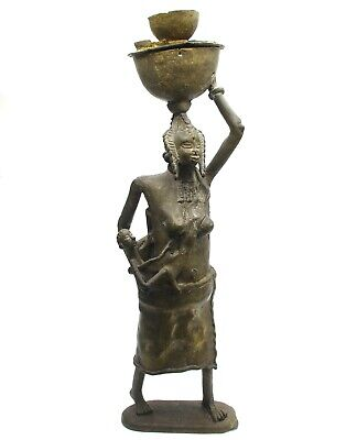 Large Mid 20th Century African Benin Bronze Figure of Mother and Child 53 cm/21""