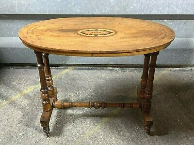 Antique Victorian oval occasional side table with inlaid decoration turned legs
