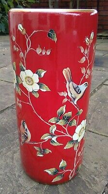 Large Oriental Chinese Porcelain Chaffinch Red Umbrella Stand Pot