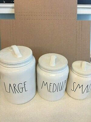 Rae Dunn SMALL, MEDIUM & LARGE Canister Set Coffee Flour Tea Sugar LL VHTF *New