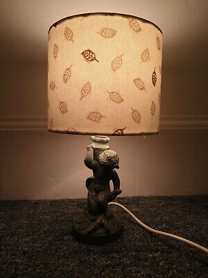 Vintage Cherub Lamp Green And Gold Handmade Shade ugly quirky kitsch odd