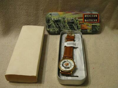 Lionel Collectible Train Watch Leather Wristband watch ~ Tin Box
