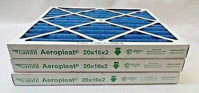 CAMFIL AEROPLEAT , AIR FILTER , 20 x 16 x 2    *LOT OF 3*