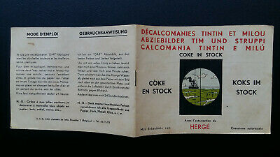 Tintin Kuifje Tim Décalcomanies version suisse 1964 Coke Stock complet TTBE!