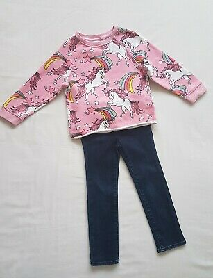 Girls Next Pink Unicorn Top Jumper And Gap Jeans 4 Years
