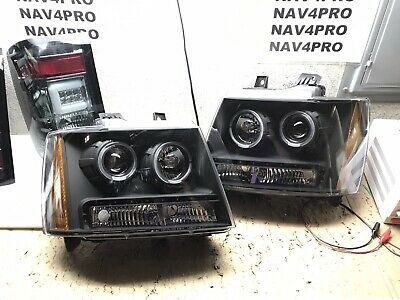 2007-2014 Chevrolet Suburban Tahoe Avalanche Black LED DRL Headlight Pair #H301
