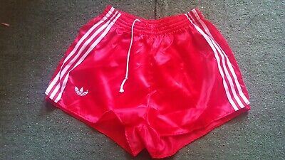Adidas football nylon shiny glanz short vintage made England running pants red