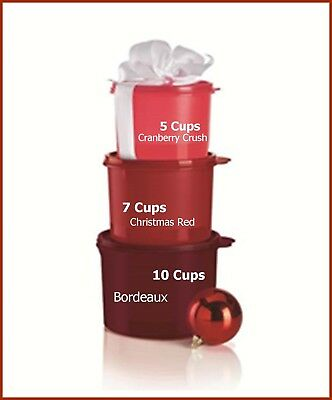 Tupperware CLASSIC CANISTER SET 10-7-5-c CRANBERRY RED BORDEAUX