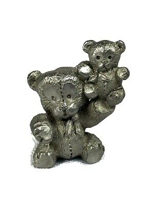 Pewter Miniatures Teddy Bear Holding Baby Figurine Animal Vintage Collectible