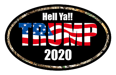 Trump 2020 Maga Sticker American Flag Decal Window Bumper Hell Ya Real Tree Camo