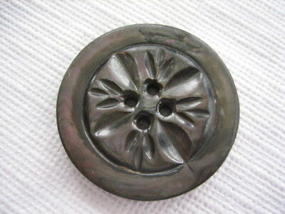 """Vintage Medium 1-3/16"""" Smokey Mother Of Pearl MOP Shell Carved Button PP114"""