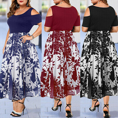 Plus Size Womens Cold Shoulder Asymmetric Maxi Dress Ladies Floral Long Dress