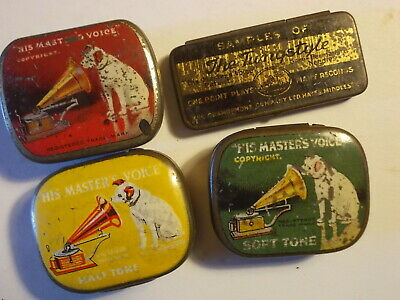 4 Old HMV Gramophone Needle Tins in well used Cond..