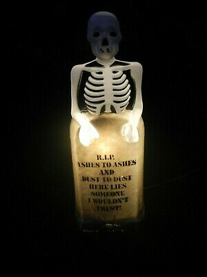 """Vintage Empire Skeleton Grave Tombstone RIP Lighted Halloween Blow Mold 35"""" Tall"""