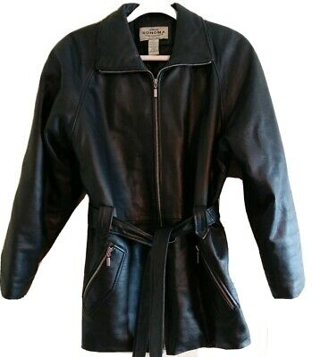 SABRINA Ladies Hip-Length Belted Coat Black Washed Lambskin Leather Long Jacket