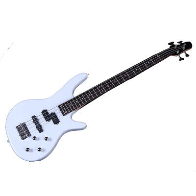 "New 34"" Basswood 24 Frets Right Handed 4 Strings Electric Bass Guitar White"