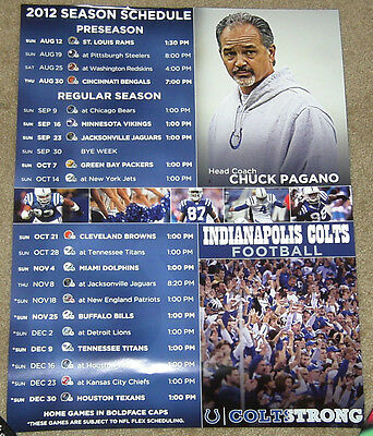 Rare Indianapolis Colts 2012 Schedule Poster - Luck & Pagano First Season! Mint!