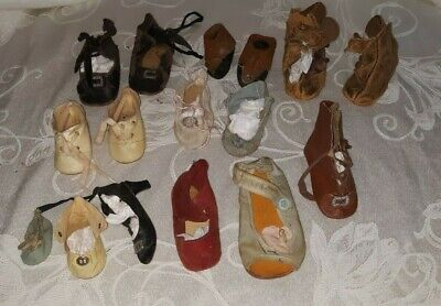 """White doll shoes 89mm or 3-1//2/"""" for 20 to 22 inch dolls Lot of 5 pair"""