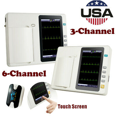 Portable Touch 3/6-Channel 12-Lead Electrocardiograph ECG EKG Machine W/ Printer