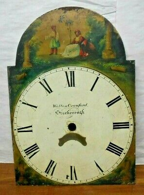 Antique English Tall Case Grandfather Clock Dial Walton Crawford Scarborough