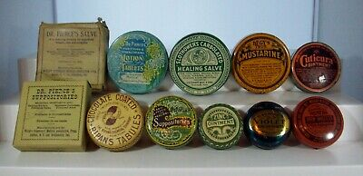 Lot of Eleven (11) Round Advertising Tins, Medicine, Near Mint Condition