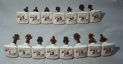 Matching Set of Fifteen (15) Porcelain Apothecary Drawer Pulls, Hand Painted