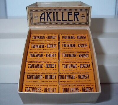 "Store Advertising Display Box, ""AKILLER"" Toothache Remedy, Towanda, PA"