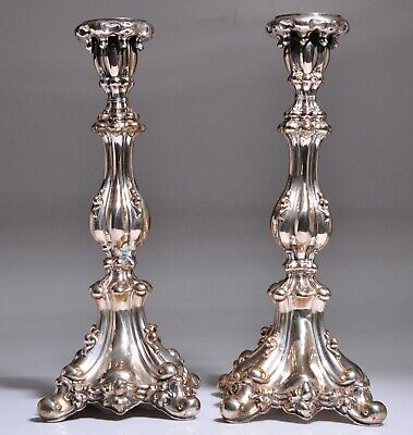 "Estate Large Tall 15"" Antique Pair German Shabbat 800? Silver Candlesticks"