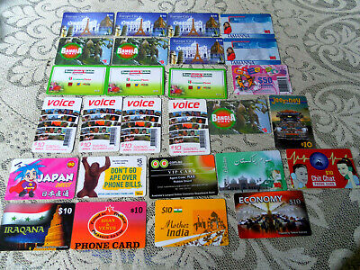 27 x COLLECTABLE ASSORTED/VARIETY PHONE CARDS-AUSSIE & O/SEAS- $50-$10-$5 AS NEW