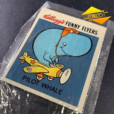 """VINTAGE c.1980's KELLOGG'S """"FUNNY FLYERS"""" 'PILOT WHALE' TRANSFER STICKER DECAL"""
