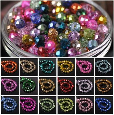 4mm 6mm 8mm 10mm Half Plated Glass Rondelle Faceted Loose Spacer Beads Jewelry