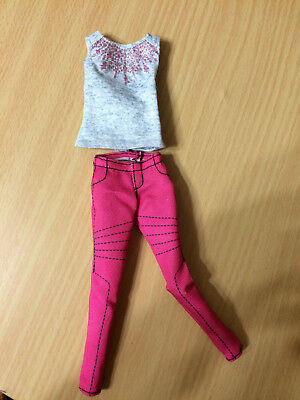 Barbie Glam Luxe Style Fashion Grey Sparkling Top Hot Pink Pants Outfit Clothes