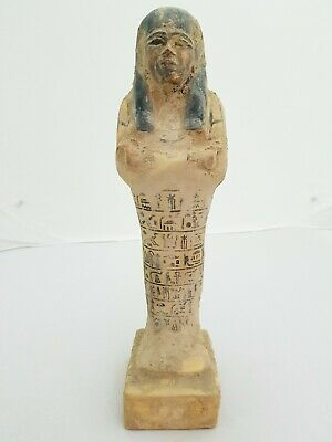 ANCIENT EGYPTIAN Polychrome USHABTI Carved Wood USHABTI (SHABTI) Statue EGYPT BC