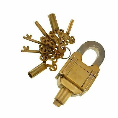 Golden Brass Padlock Six Key Square Trick Puzzle Heavy Safety Door Lock GK 544