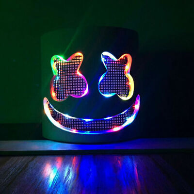 Halloween DIY Marshmello Helmet LED Handmade Full Head Mello Mask for Kids Party