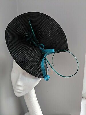 Black And Teal Woven Straw Fascinator, Races Weddings