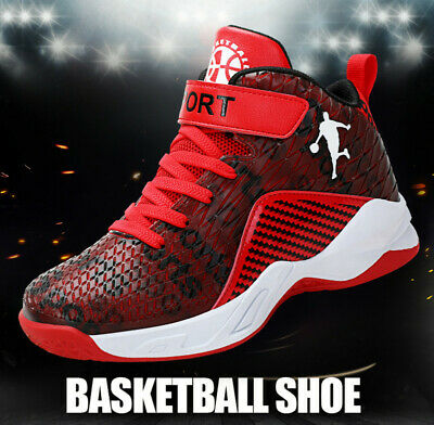 30-39 Kids Boys High Top Running Sports Basketball Shoes Trainers Non-slip New
