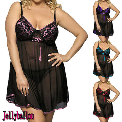 Plus Size Women Sexy Sissy Lace Babydoll Lingerie Ladies Nightdress Sleepwear