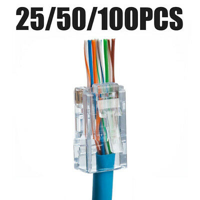 25/50/100* EZ RJ45 8P8C Crimp End Plug Connectors Network Cable Modular CAT6 AU