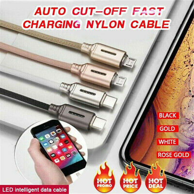 New Nylon Auto Cut-off Disconnect Led Light USB Fast Charging Data Sync Cable