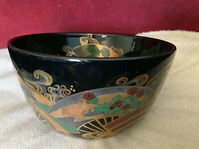 Art Deco Style Ceramic Bowl With Lustre Stylised Fans and Scrolled Decoration