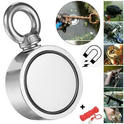 300/500KG Double Magnet Metal Detector Side Neodymium Recovery Fishing +10M Rope