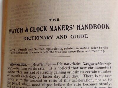 The Watch & Clockmakers Handbook Dictionary & Guide,  1946 Edition VGC