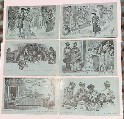 C.Dana Gibson Postcard Set 'Theatrical' Set Of 6 Cards Postmarked Tongio West