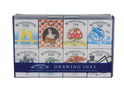 Winsor & Newton Drawing Ink Henry Collection Pack Of 8 Value Set Of Drawing Ink