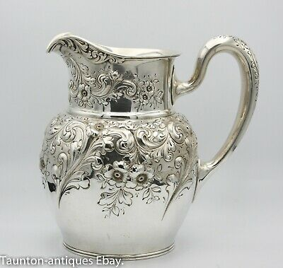 Large repousse floral water pitcher jug/ carafe antique sterling silver c.1910