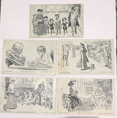 C.Dana Gibson Postcard Set 'After Marriage Part Set 5 Cards  West Tongio P/mark