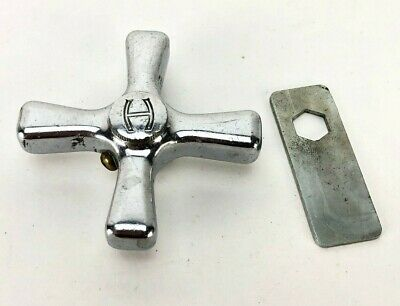 "VTG Hot Water Faucet Original Box HOT H X Cross Handle Chrome 2.5"" EZ Tach Japan"